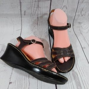 BOC brown leather wedge sandals ankle strap